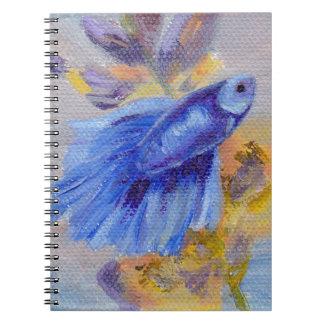 Little Blue Betta Fish Spiral Notebook
