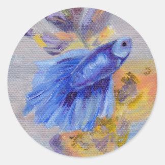 Little Blue Betta Fish Round Sticker
