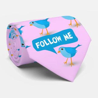 Little Blue Bird Cute Follow Me Twitter NeckTies