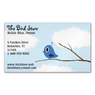Little Blue Bird On A Tree Branch Magnetic Business Card