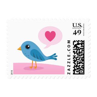 Little blue bird Valentines day postage stamp