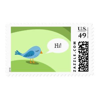 Little blue bird with speech bubble on green stamp