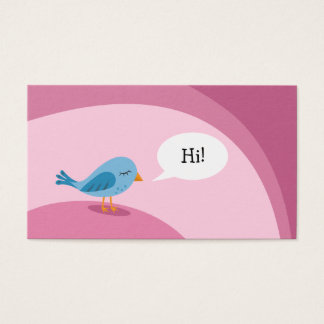 Little blue bird with speech bubble on pink business card