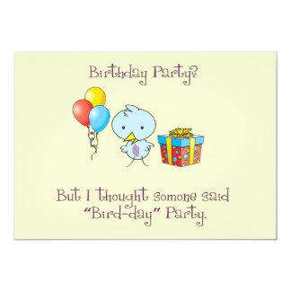 Little Blue Birdie Birthday Invitation