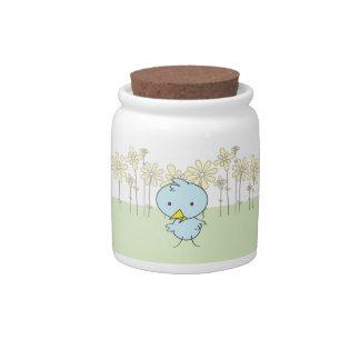 Little Blue Birdie in a Field Candy Jar