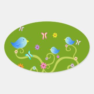 Little Blue Birdies Oval Sticker