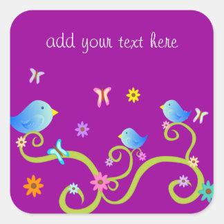 Little Blue Birdies Square Sticker
