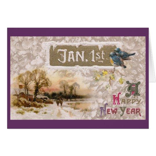 Little Blue Birds Tweet the New Year Card