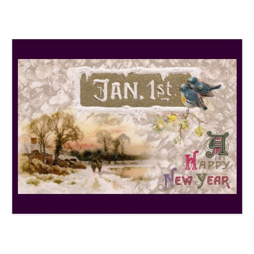 Little Blue Birds Tweet the New Year Postcards