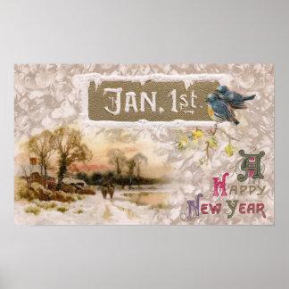 Little Blue Birds Tweet the New Year Poster