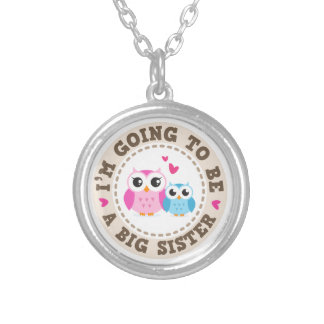 Little blue brother owl Im going to be big sister Round Pendant Necklace