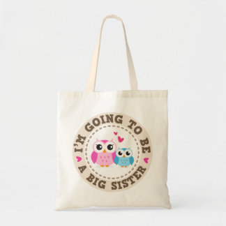 Little blue brother owl Im going to be big sister Tote Bag