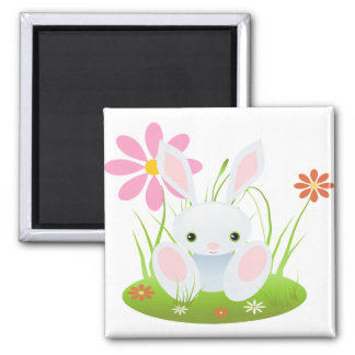 Little Blue Bunny With Flowers 2 Inch Square Magnet