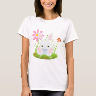 Little Blue Bunny With Flowers T-Shirt