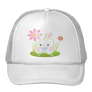 Little Blue Bunny With Flowers Trucker Hat