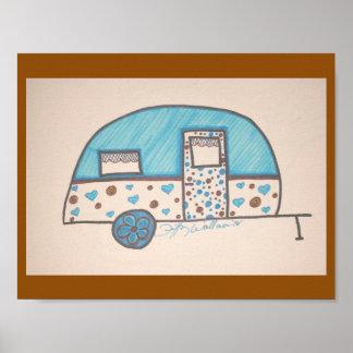 Little blue camper design poster