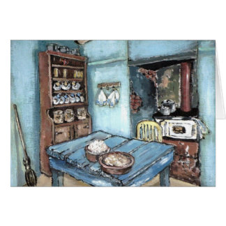 Little Blue Country Kitchen Greeting Card