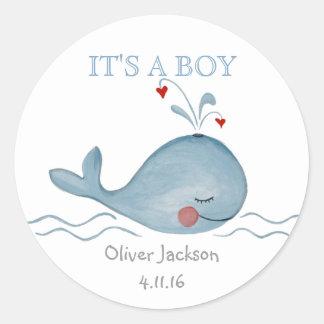 Little Blue cute Whale Nautical | Round Sticker