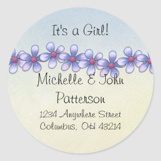 Little Blue Daisy Flowers Return Address Labels Classic Round Sticker