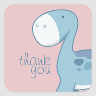 Little Blue Diplodocus | Square Thank You Stickers Square Sticker