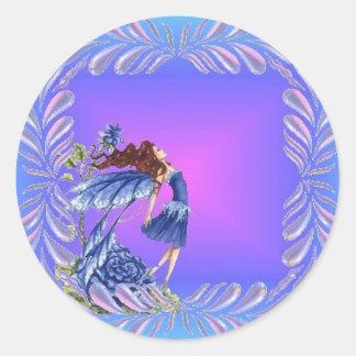 Little blue fairy round sticker