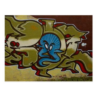 Little blue ghost graffiti postcard