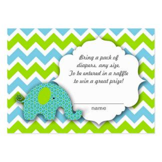 Little blue green elephant Diaper Raffle Ticket Large Business Card