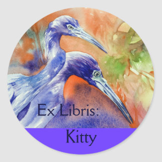 Little Blue Heron Art Custom Bookplate sticker