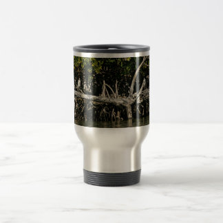 Little blue herons on mangrove roots 15 oz stainless steel travel mug