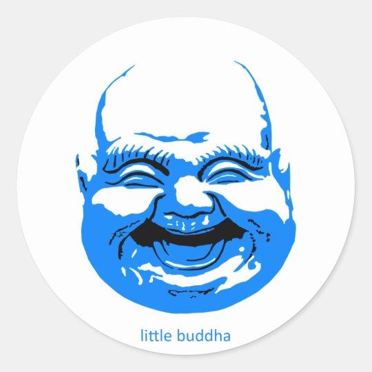 little blue laughing-buddha classic round sticker