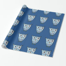 Little blue owl wrapping paper
