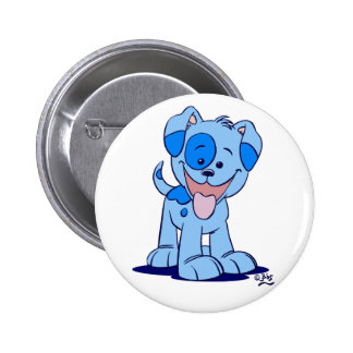 Little blue puppy button badge