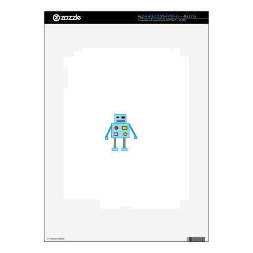Little Blue Robot Skin For iPad 3
