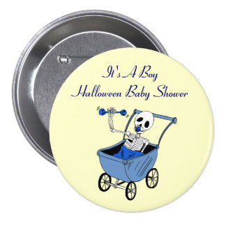 Little Blue Skeleton Baby Shower Pin Buttons