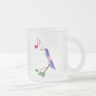 Little blue Valentine bird Frosted Glass Coffee Mug