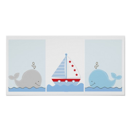 Little Blue Whale and Sailboat Art Prints