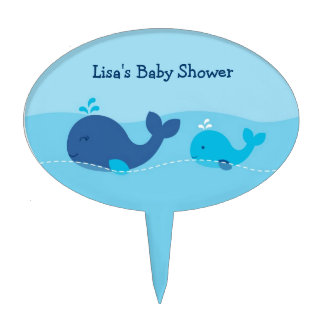 Little Blue Whale Baby Shower Cake Topper