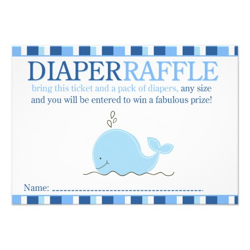 little blue whale baby shower diaper raffle card 3 5 x 5 invitati