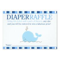 Little Blue Whale Baby Shower Diaper Raffle Card