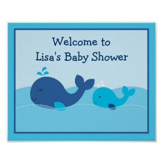 Little Blue Whale Baby Shower Welcome Sign