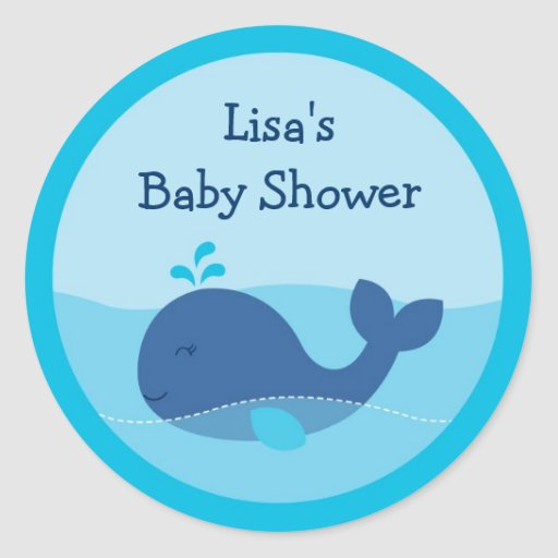 Little Blue Whale Envelope Seals Stickers