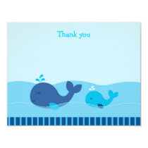 Little Blue Whale Flat Thank You Note Cards