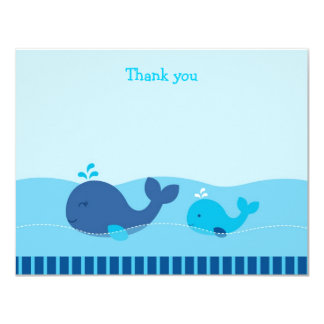 Little Blue Whale Flat Thank You Note Cards Personalized Announcement