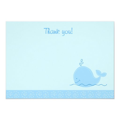 Little Blue Whale Flat Thank You notes Card