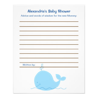 Little Blue Whale Flyer Baby Shower Advice Cards