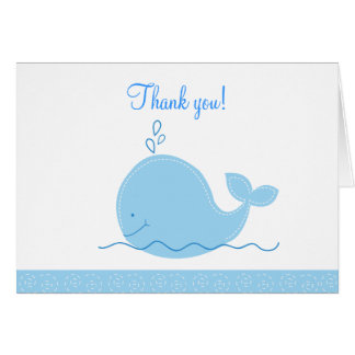 Little Blue Whale Folded Thank you notes Greeting Card