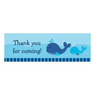 Little Blue Whale Goodie Bag Tags Gift Tags Double-Sided Mini Business Cards (Pack Of 20)