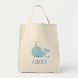 Little Blue Whale Grocery Tote Bag - add a NAME