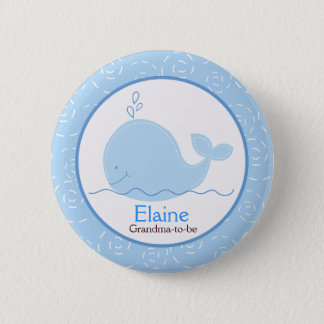 Little Blue Whale NAME TAG Custom Button