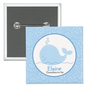 Little Blue Whale NAME TAG Custom Button